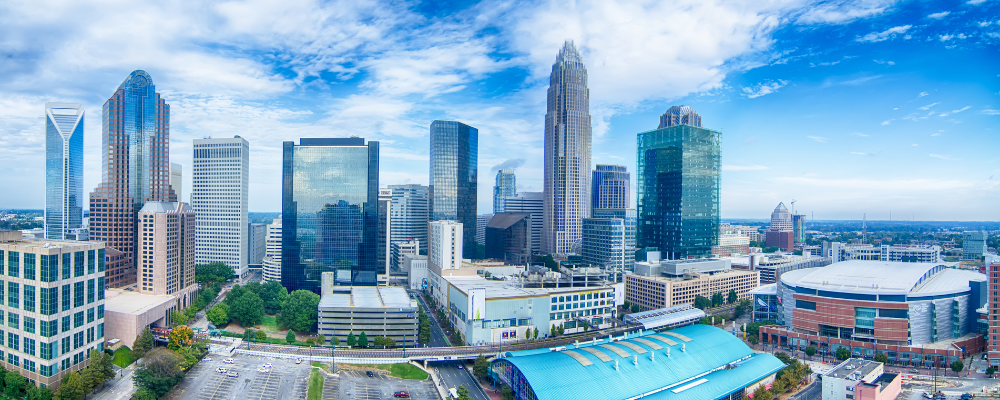 Wide-angle shot of the Charlotte, NC skyline