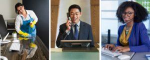 Collage of three employees - a female cleaner, male receptionist and female customer service representative